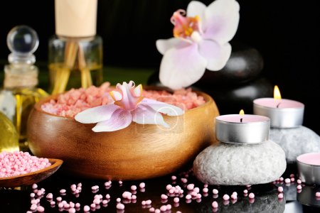 Photo for Beautiful spa composition with flowers on dark background - Royalty Free Image