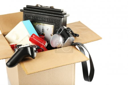 Photo for Box of unwanted stuff isolated on white - Royalty Free Image