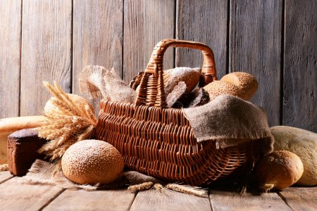 Different bread in wicker basket