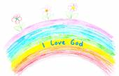 I love God text on rainbow