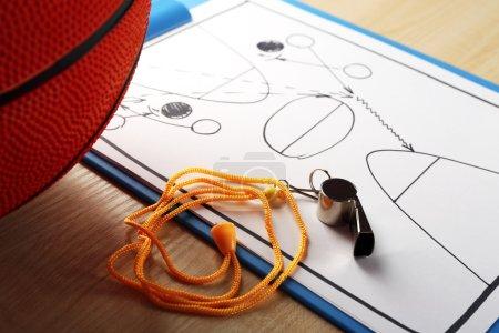 Scheme basketball game on paper