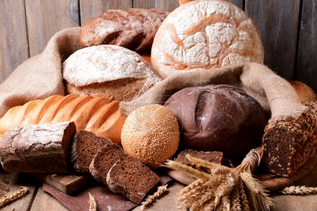 Different bread on table