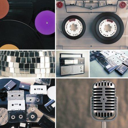 Płyty winylowe, kasety audio, mikrofon i radia w kolażu