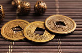 Feng shui coins on table