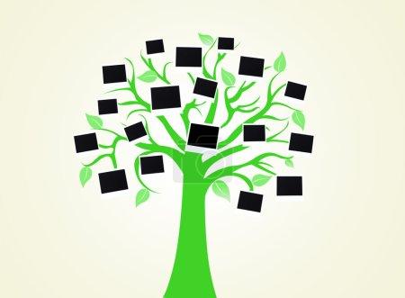 Photo pour Grand arbre vert avec cartes photo sur fond de couleur claire - image libre de droit