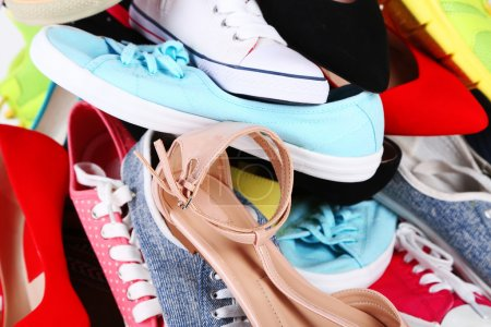 Many various female shoes