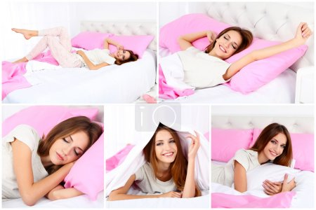 Collage of photos with young beautiful woman sleep...