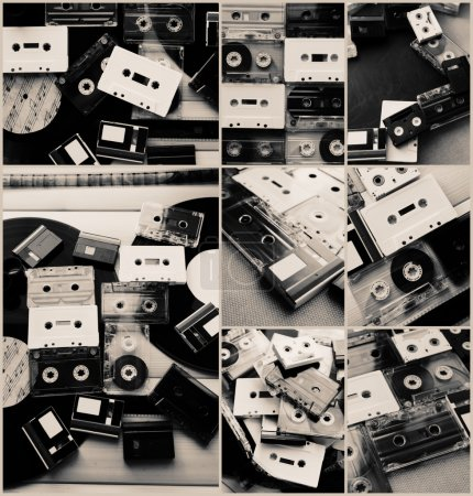 Collection of retro audio tapes and vinyl records in collage