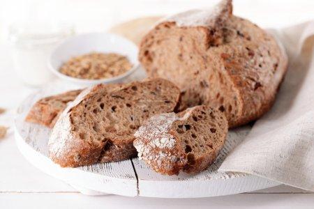 Tasty bread on table