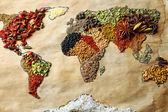 Mapa světa z různých druhů koření, detail