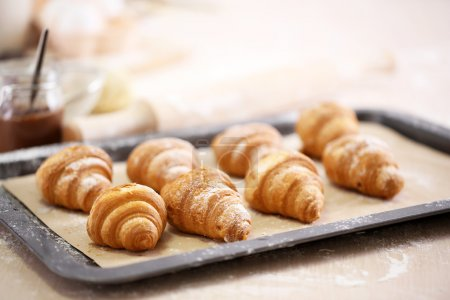 Photo for Baking croissant cookies. - Royalty Free Image