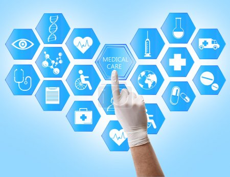Photo for Medical doctor working with healthcare icons. Modern medical technologies concept - Royalty Free Image
