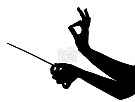 Music conductor hands with stick