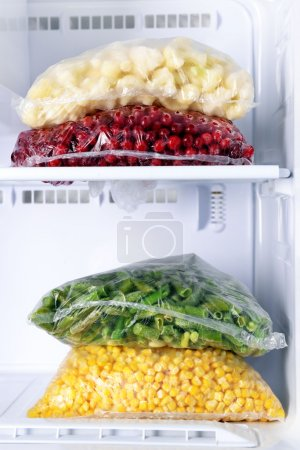 Frozen vegetables in bags