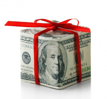 Dollar gift box with bow isolated on white