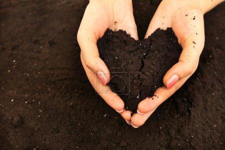 Female handful of soil in shape of heart, closeup