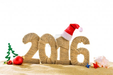 Photo for New year 2016 sign on beach sand - Royalty Free Image