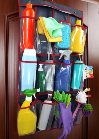 Household chemicals in holder