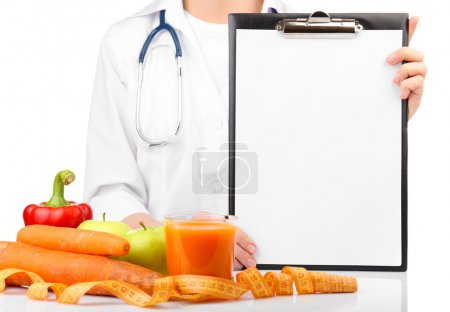 Nutritionist Doctor with clipboard for diet plan, isolated on white