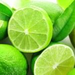 Sliced fresh limes, closeup...