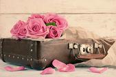Krásné růžové růže v kufru, detail