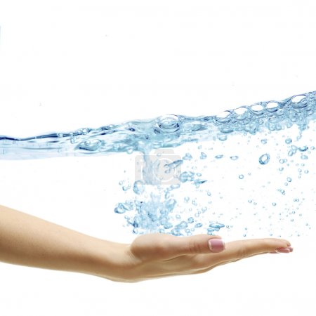 Hand and splash of pure water wave isolated on white