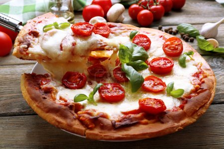 Delicious pizza with cheese