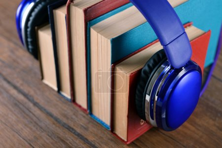 Books and headphones as audio books