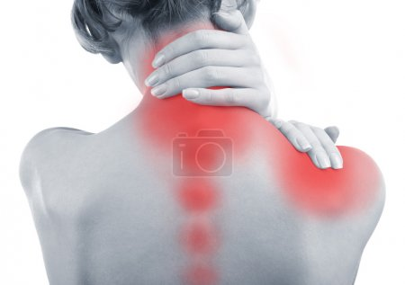 Photo for Young woman with neck and shoulder pain close up - Royalty Free Image