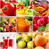 Koláž z čerstvého nápoje, ovoce a zeleniny