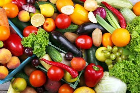 Photo for Heap of fresh fruits and vegetables close up - Royalty Free Image
