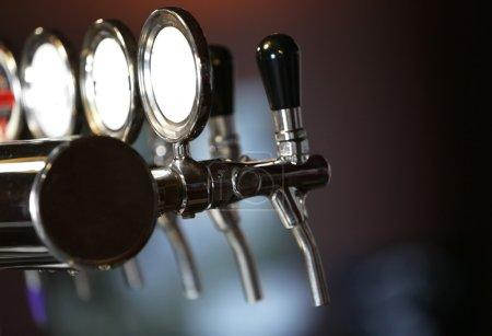 Beer taps close-up