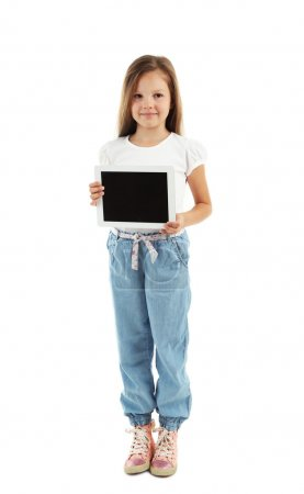 Beautiful little girl with digital tablet