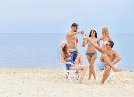 Beautiful people having fun on beach