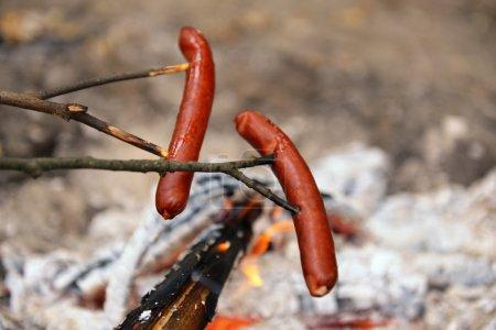 Photo pour Saucisses grillées dans le gros plan bois - image libre de droit