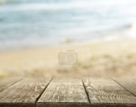 Wooden desk on sea