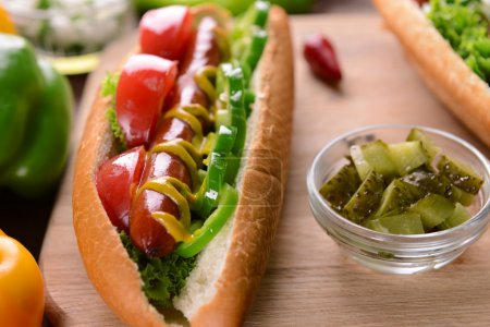 Hot dog and vegetables