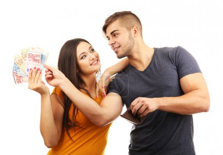 Couple with money banknotes isolated on white