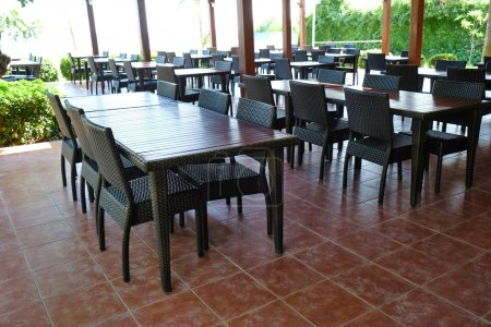 Empty seats and tables
