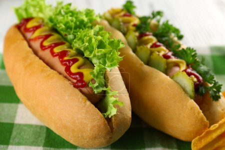 Delicious hot-dogs with chips