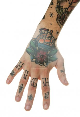 Photo for Abstract tattoo on male hand over white background - Royalty Free Image