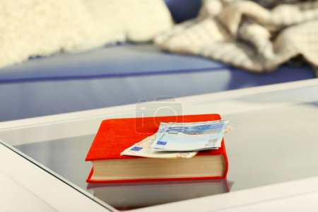 Red book with euro banknotes