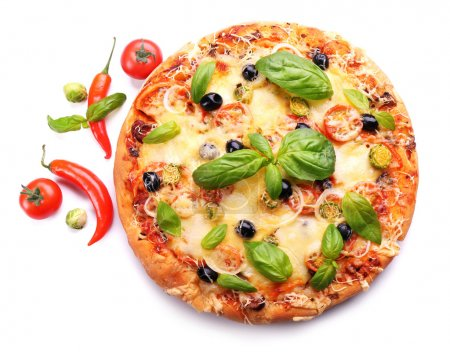 Photo for Delicious fresh pizza isolated on white - Royalty Free Image