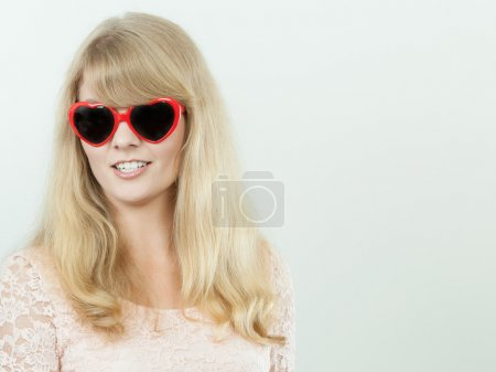 Happy young woman girl in glasses.