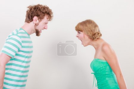 Photo for Relationship difficulties. Angry woman and man yelling at each other. Face to face. - Royalty Free Image