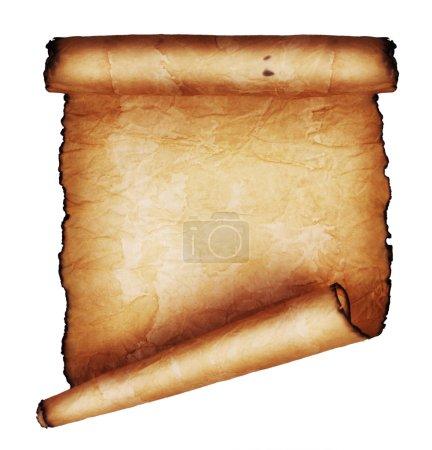 Foto de Antiguo pergamino aislado sobre fondo blanco - Imagen libre de derechos