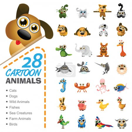 Photo for Vector illustration of 28 cartoon animals and birds. - Royalty Free Image