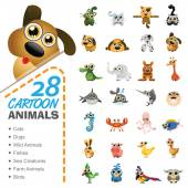 Vector illustration of 28 cartoon animals and birds