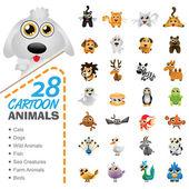 Cartoon illustration of 28 animals and birds