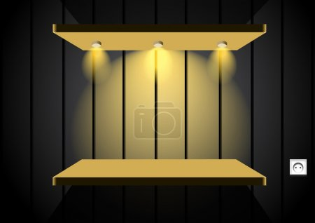 Illustration for Illustration of shelf on wall with wallpaper. Design is available in EPS10 file format and high quality JPEG file. - Royalty Free Image